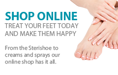 Shop online. Treat your feet today and make them happy. From the Sterishoe to creams and sprays our online shop has it all.